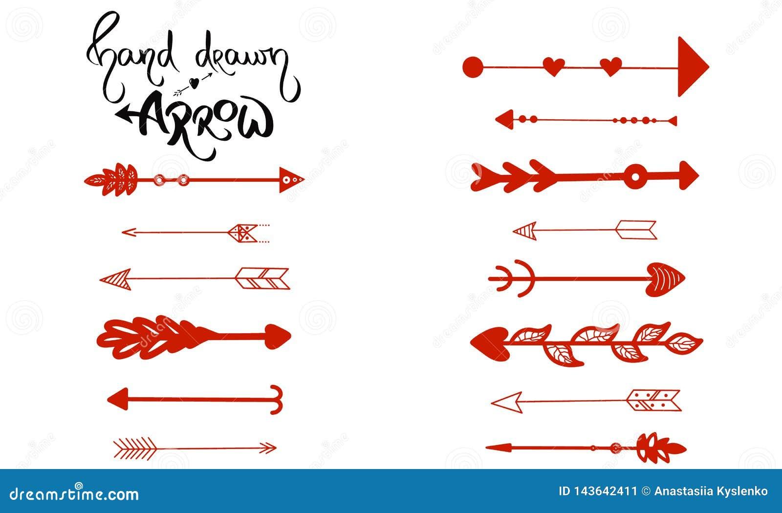 Hand-dragen pilvektor Uppsättning av röd pappers- höger som piluppvisning är vänster Pil för navigering som isoleras på vit bakgr