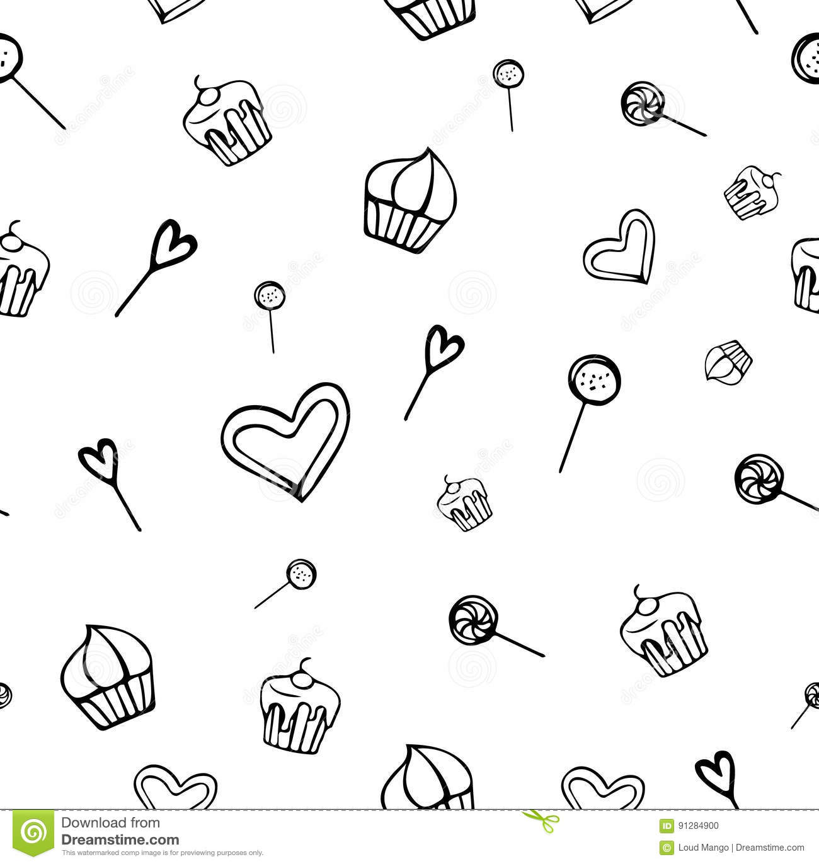 Hand-dragen sömlös bakgrund med sötsaker, kakor, godisen, hjärtor och klubbor i vektor