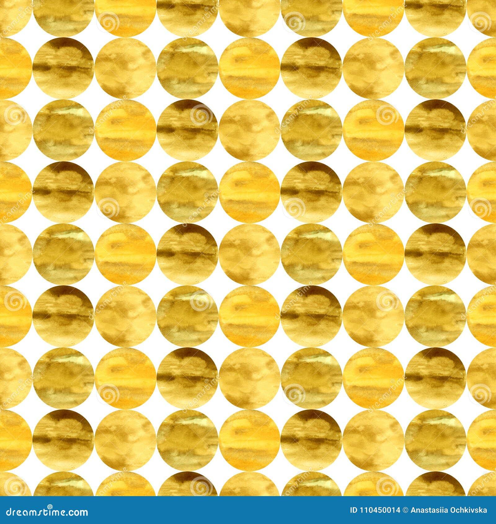 Hand-dragen sömlös modell för vattenfärg med guld- hand-drog cirklar