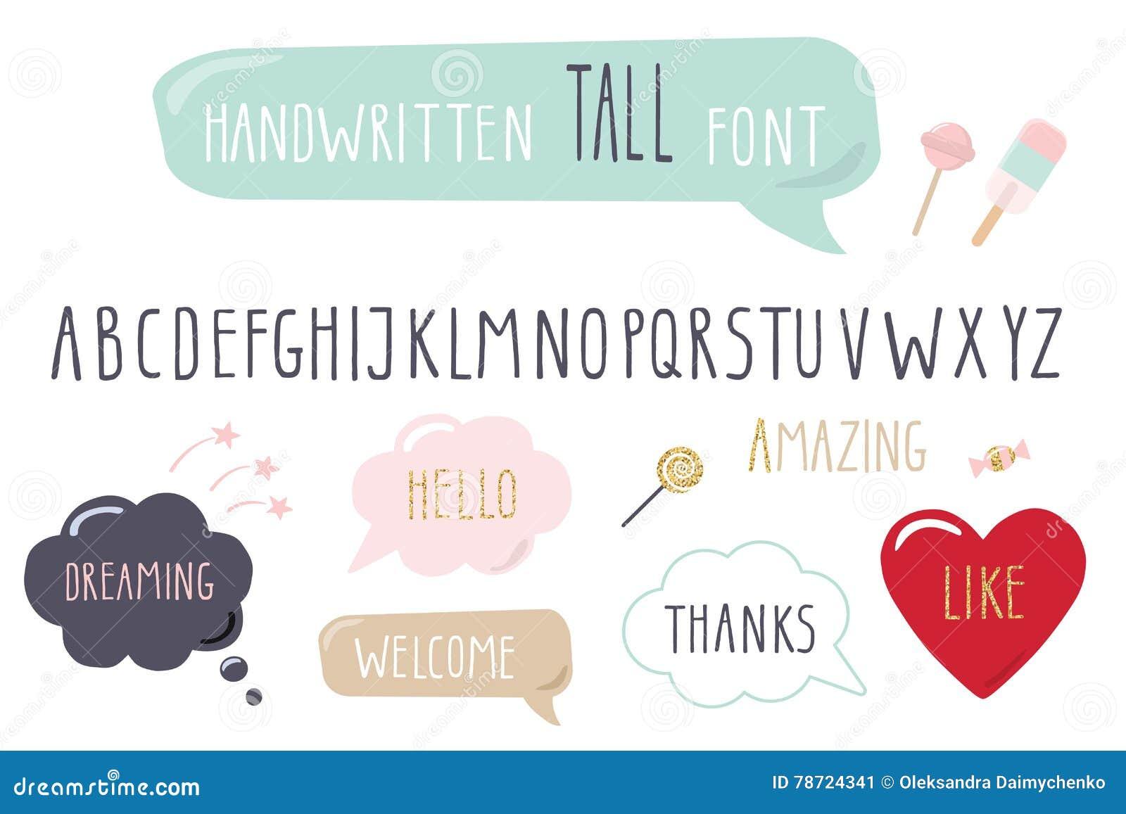 Hand dragen smal stilsort Högväxt alfabet klotter