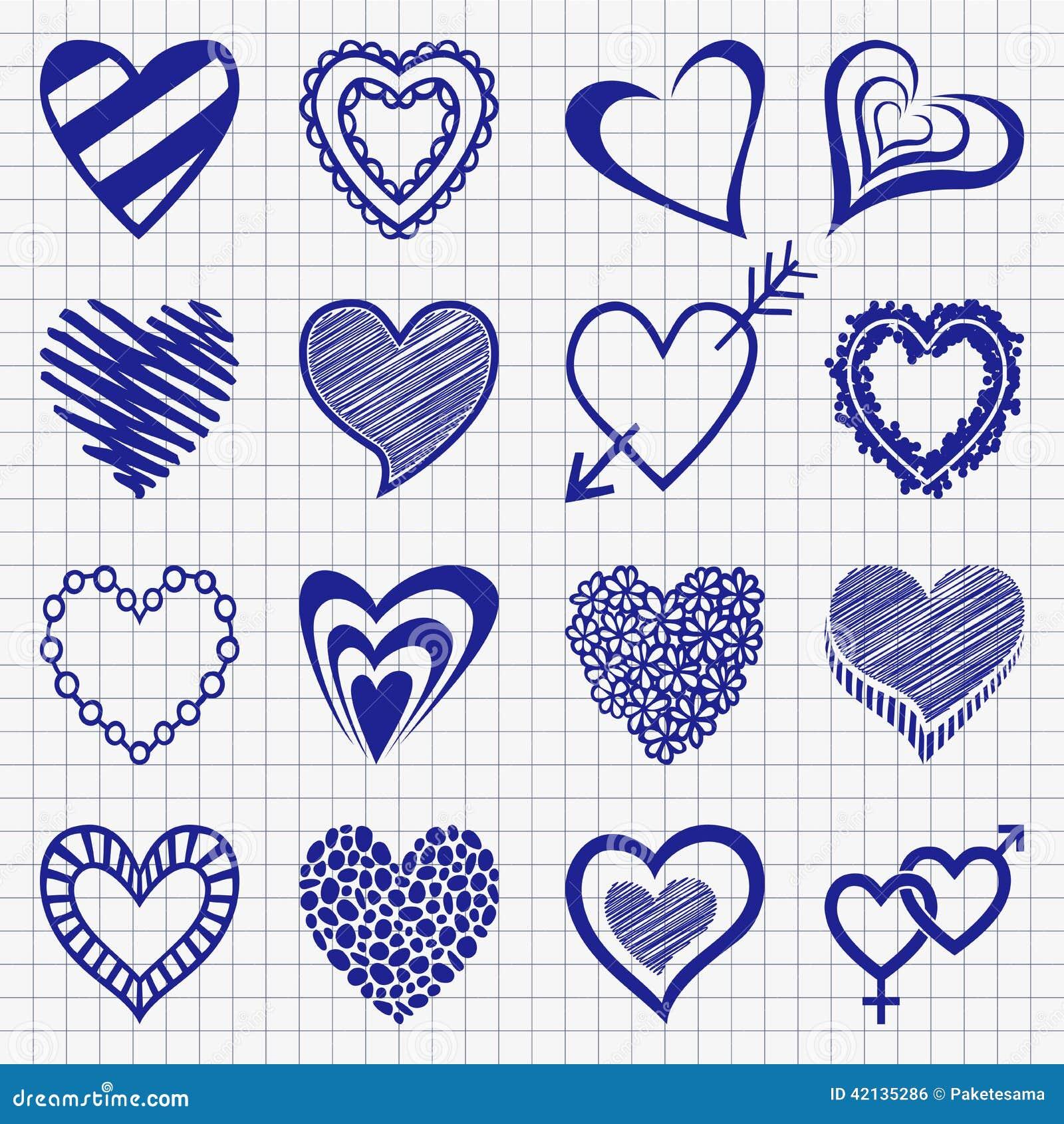Hand dragen uppsättning av hjärtasymboler på ett rutigt papper