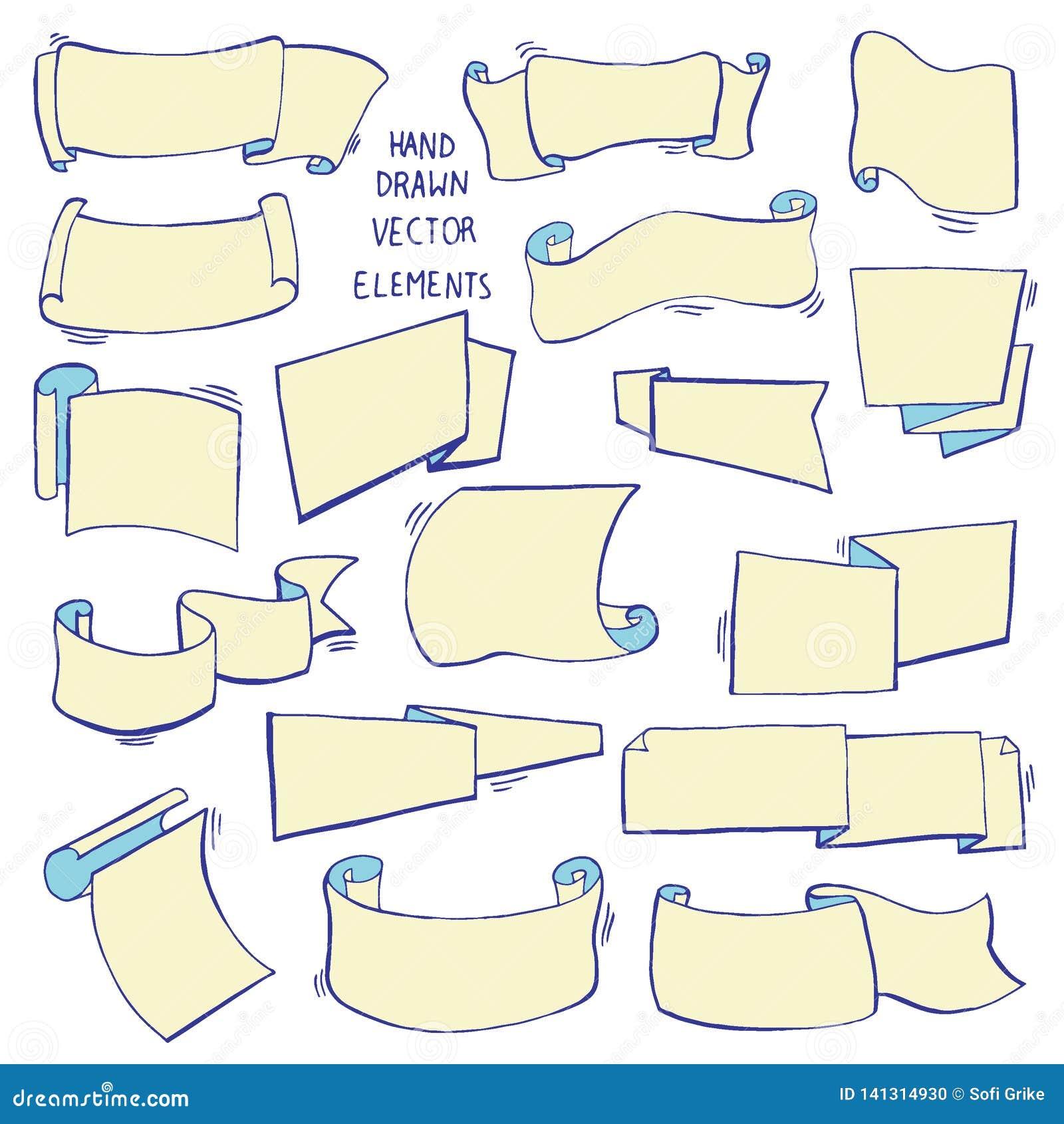 Hand dragen uppsättning av olika band Planlägg beståndsdelar för hälsningkort, baner, inbjudningar Skissa vektorillustrationen