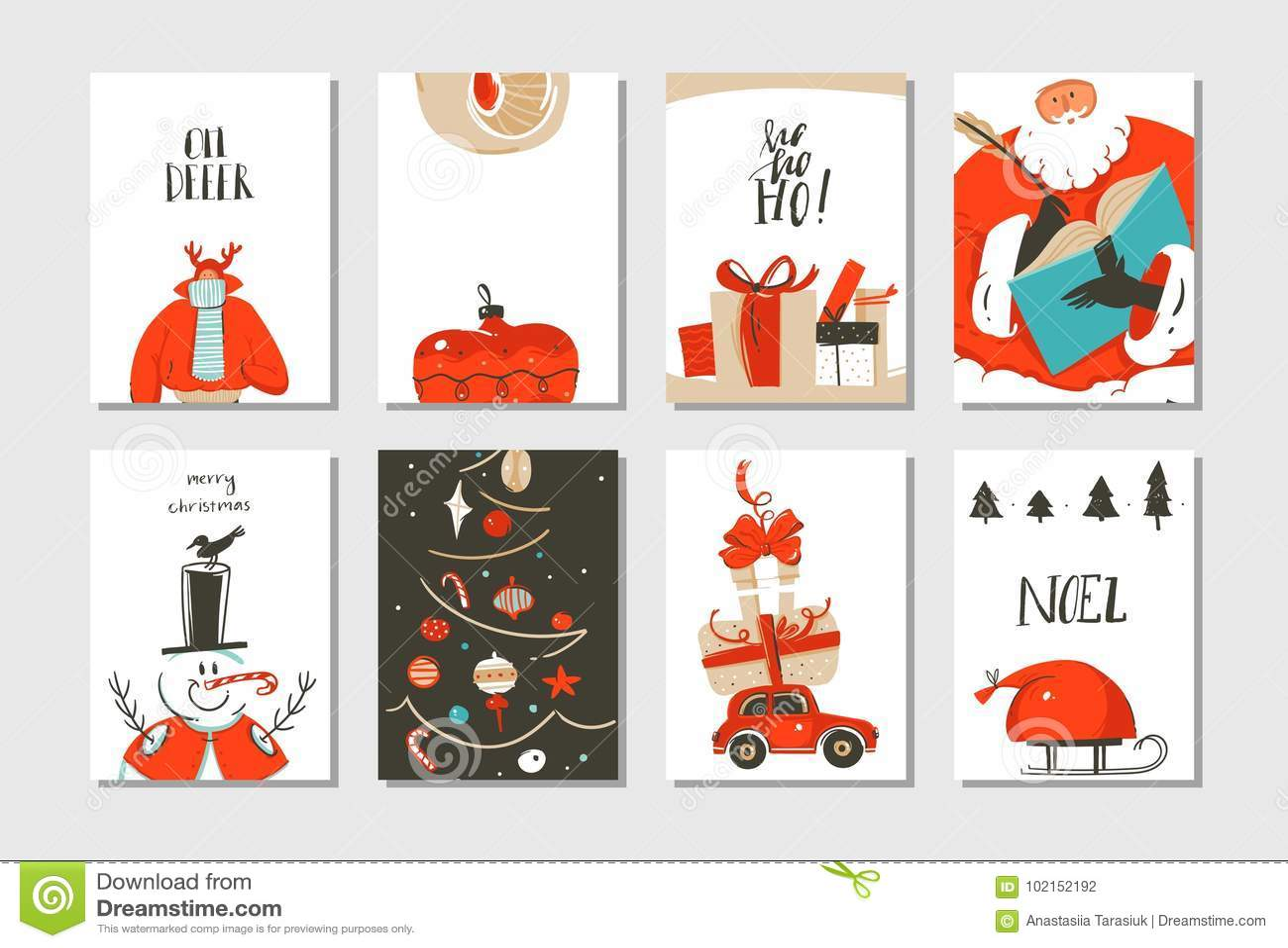 Hand dragen uppsättning för samling för kort för tecknad film för tid för glad jul för vektorabstrakt begrepp rolig med gulliga i