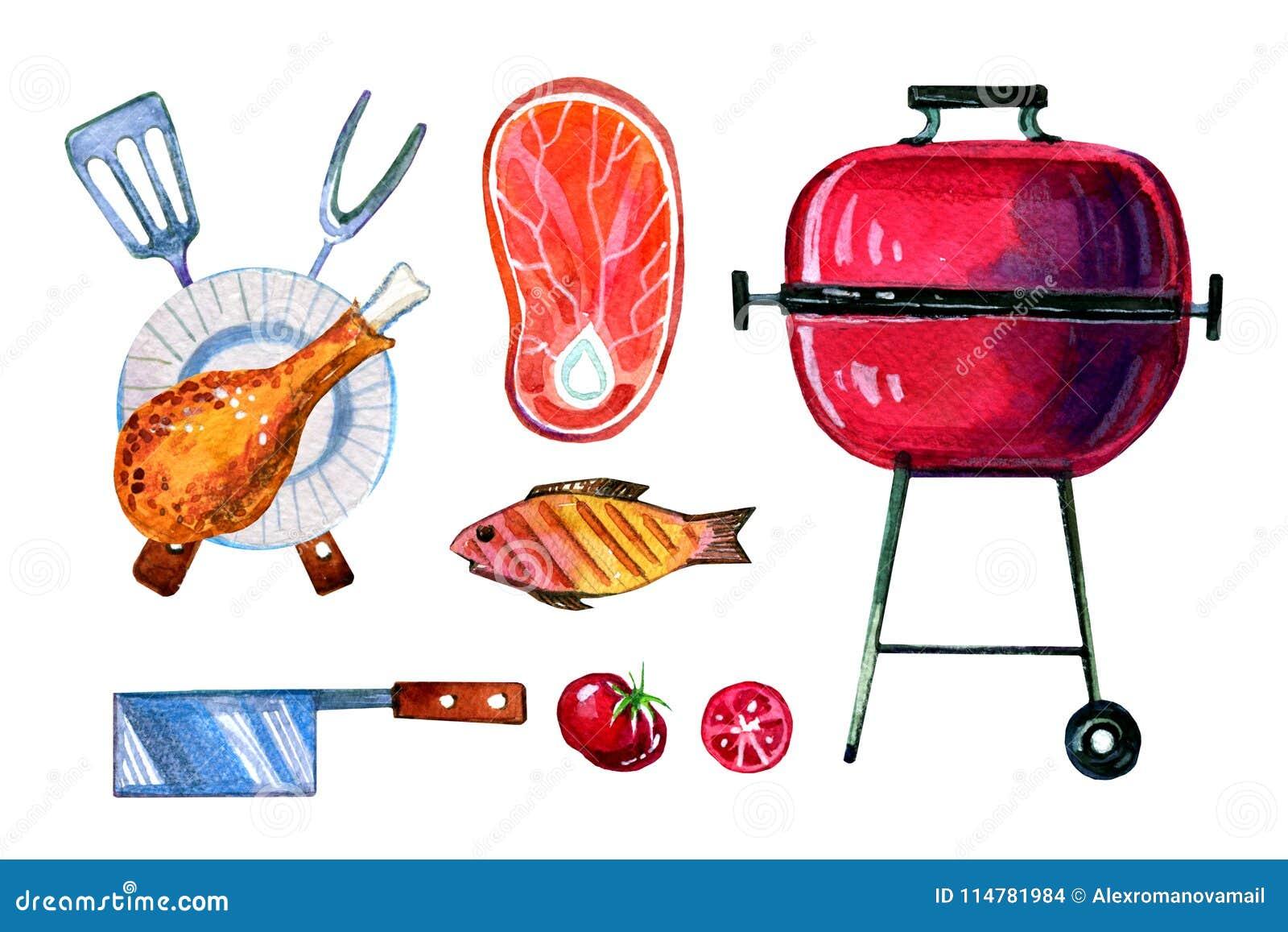 Hand dragen vattenfärguppsättning av olika objekt för picknick, sommar som ut äter, galler och grillfest