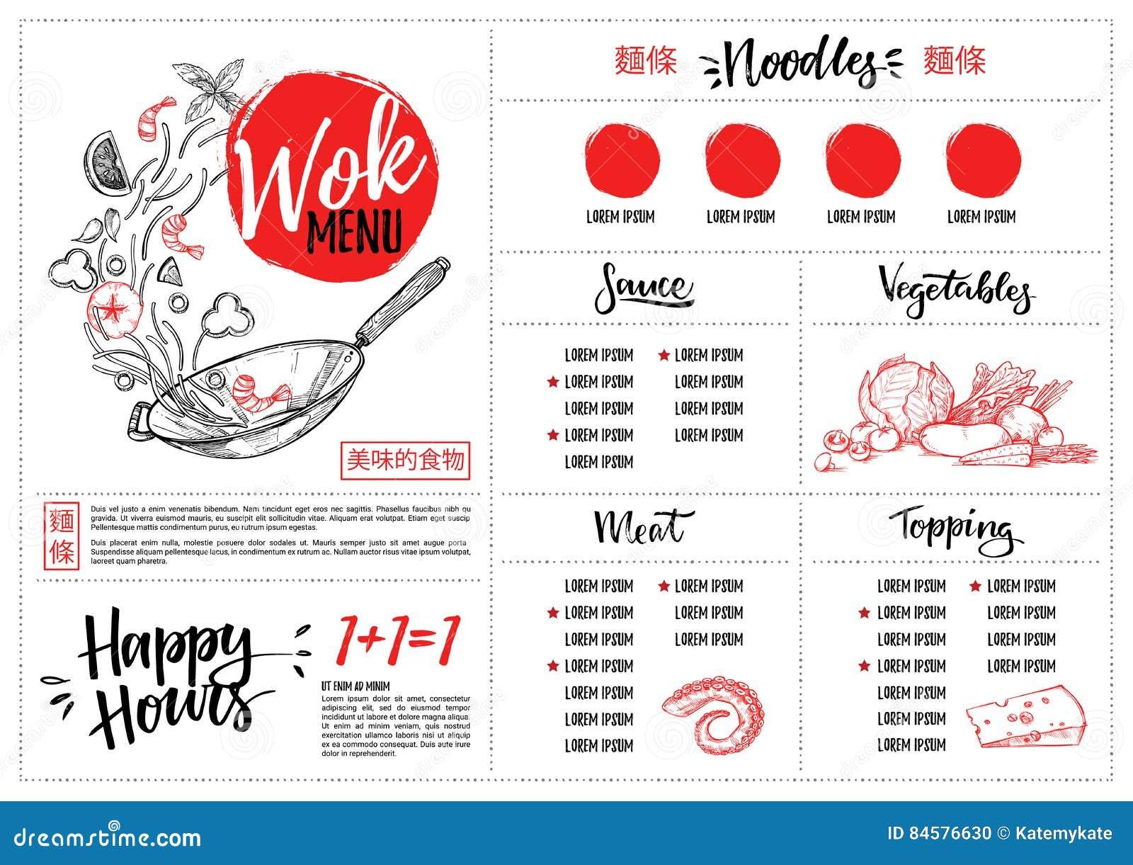 Hand dragen vektorillustration - asiatisk mat Woka menyn med calli