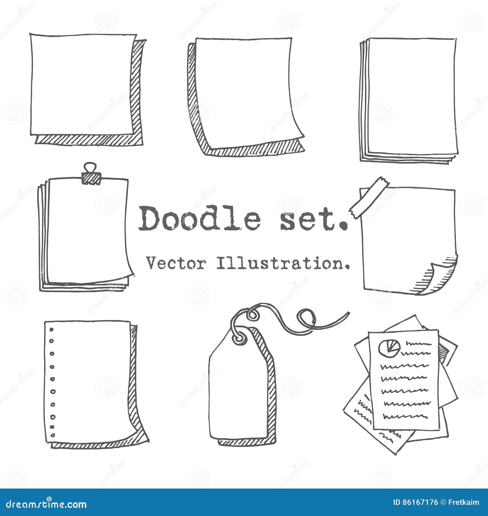 Hand dragen vektoruppsättning av det pappers- arket, packe av papper, etikett, klibbig anmärkning, notepadsida med stiftet, tejp