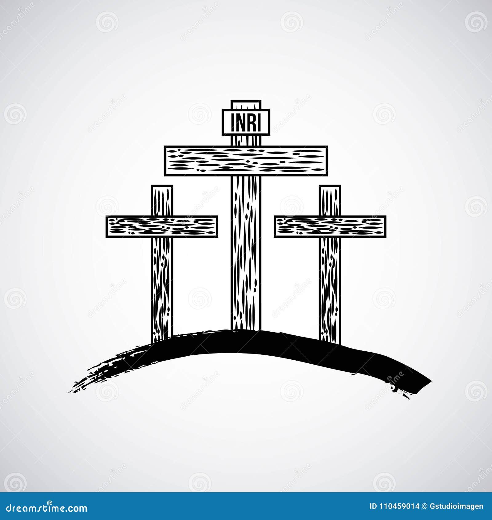 Hand dragit berg med katoliksymbol för tre kors