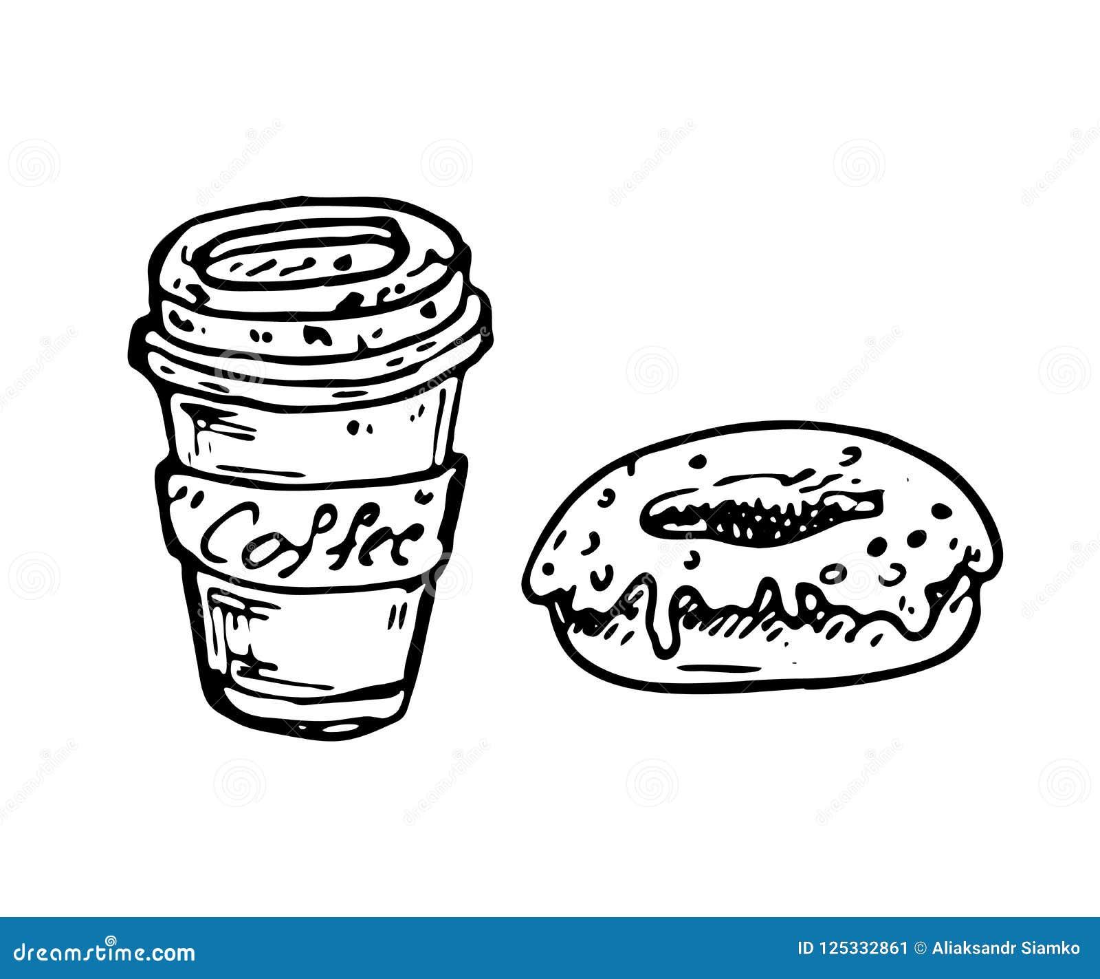 Hand dragit kaffe- och munkklotter Skissa mat och drinken, symbol