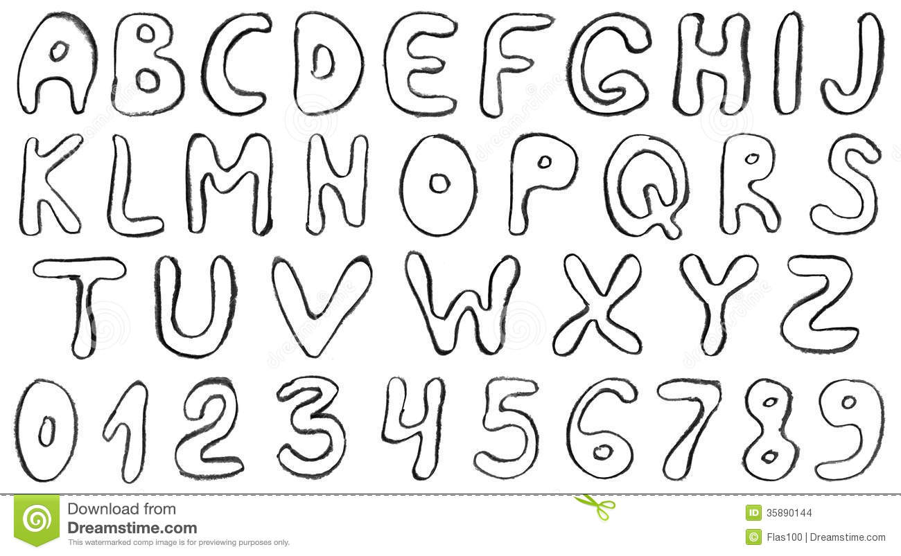 Hand Draw Alphabet Letters. Stock Illustration ...