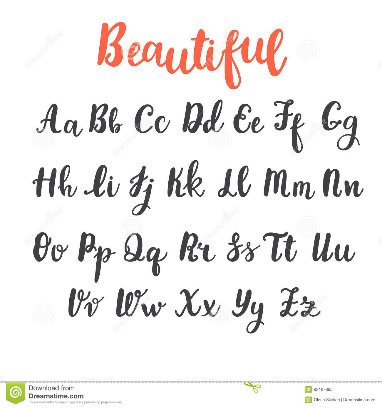 Hand Draw Alphabet Uppercase And Lowercase Letters Calligraphy Font Lettering
