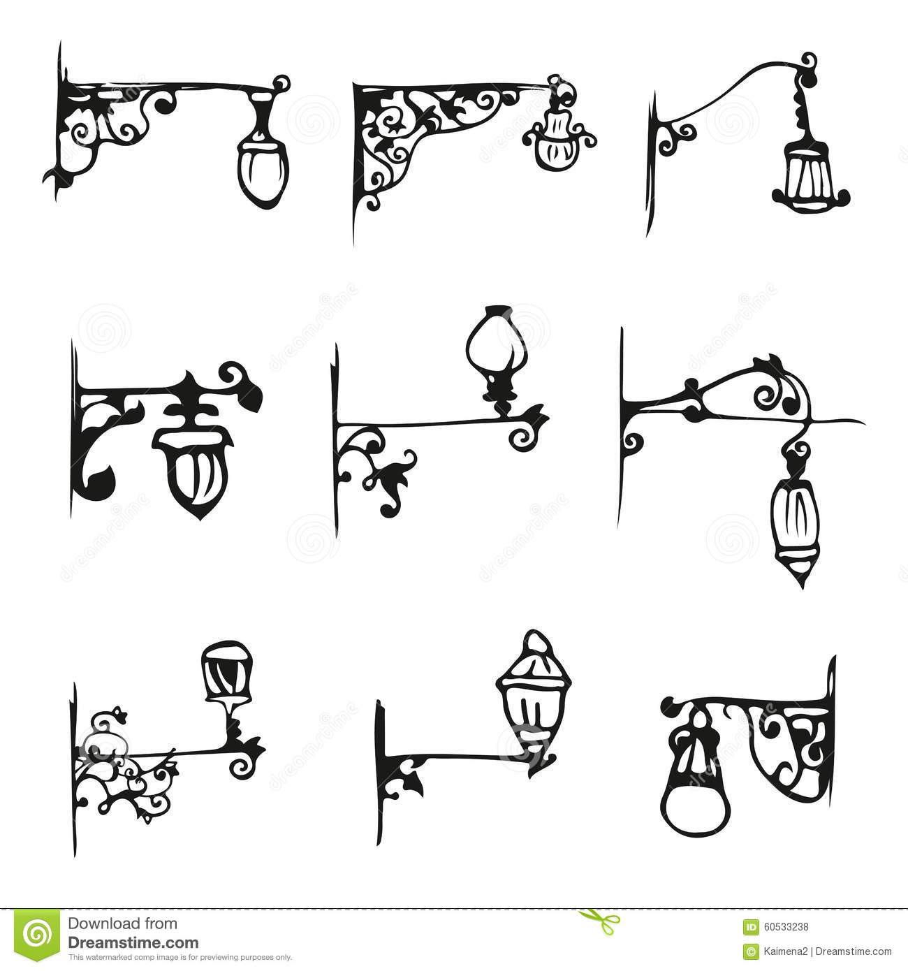 Hand Draw Antique Street Lamp Vintage Stock Vector