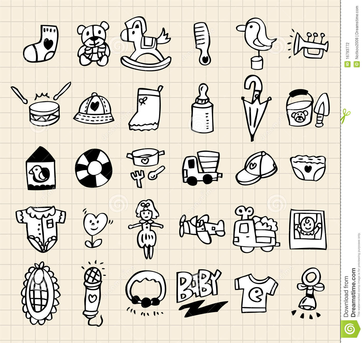 Baby Toys Drawing : Hand draw cartoon baby toy icon vector