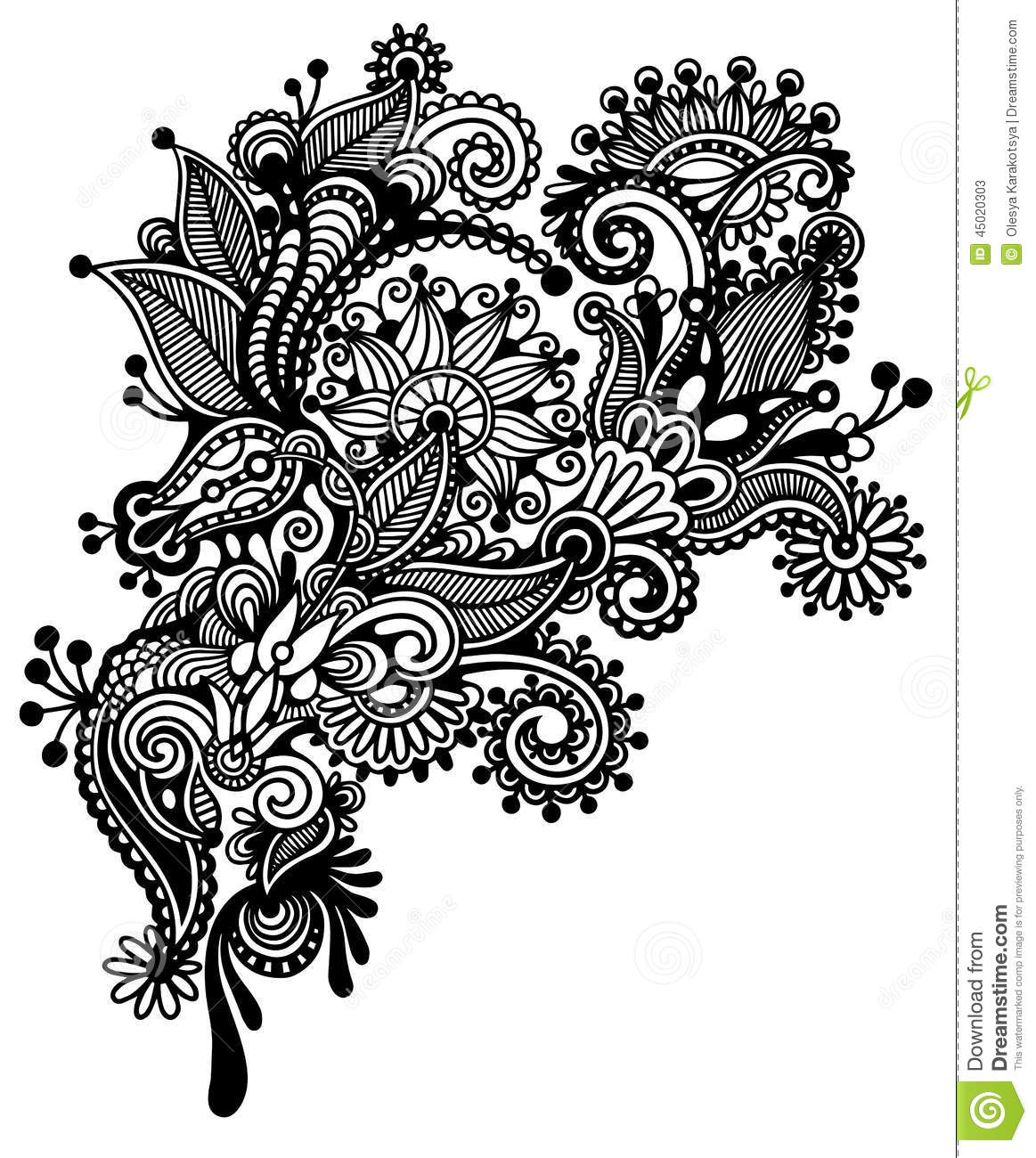 Black And White Line Drawing Flowers : Hand draw black and white line art ornate flower stock