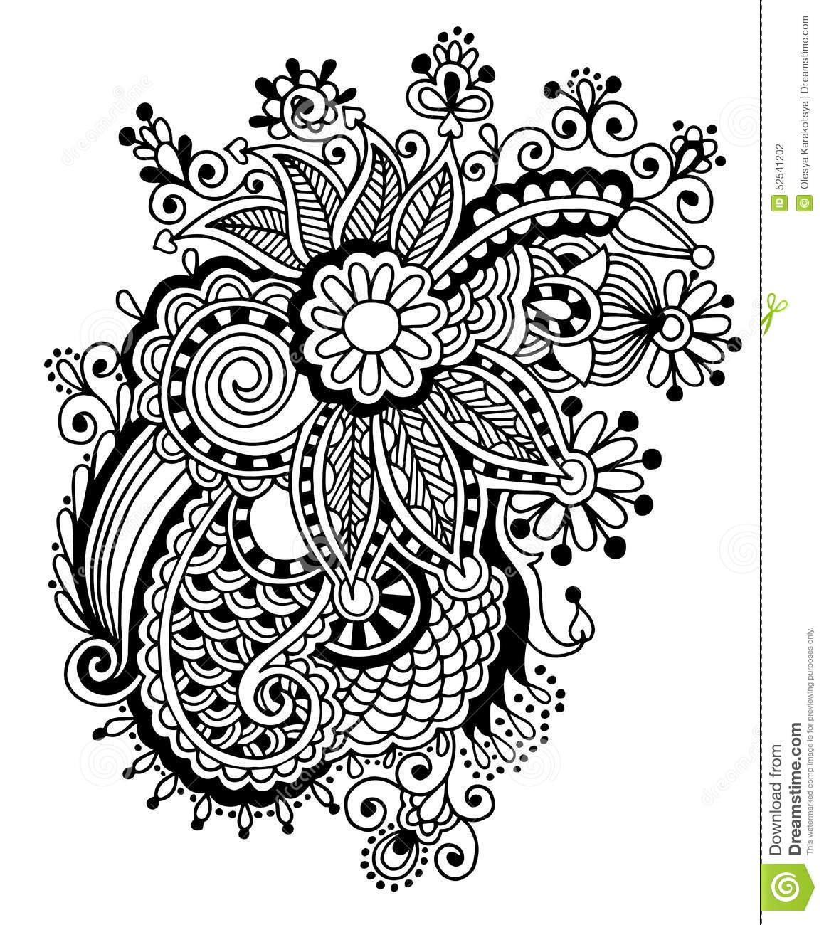 Line Design Art With Mr E : Hand draw black and white line art ornate flower stock