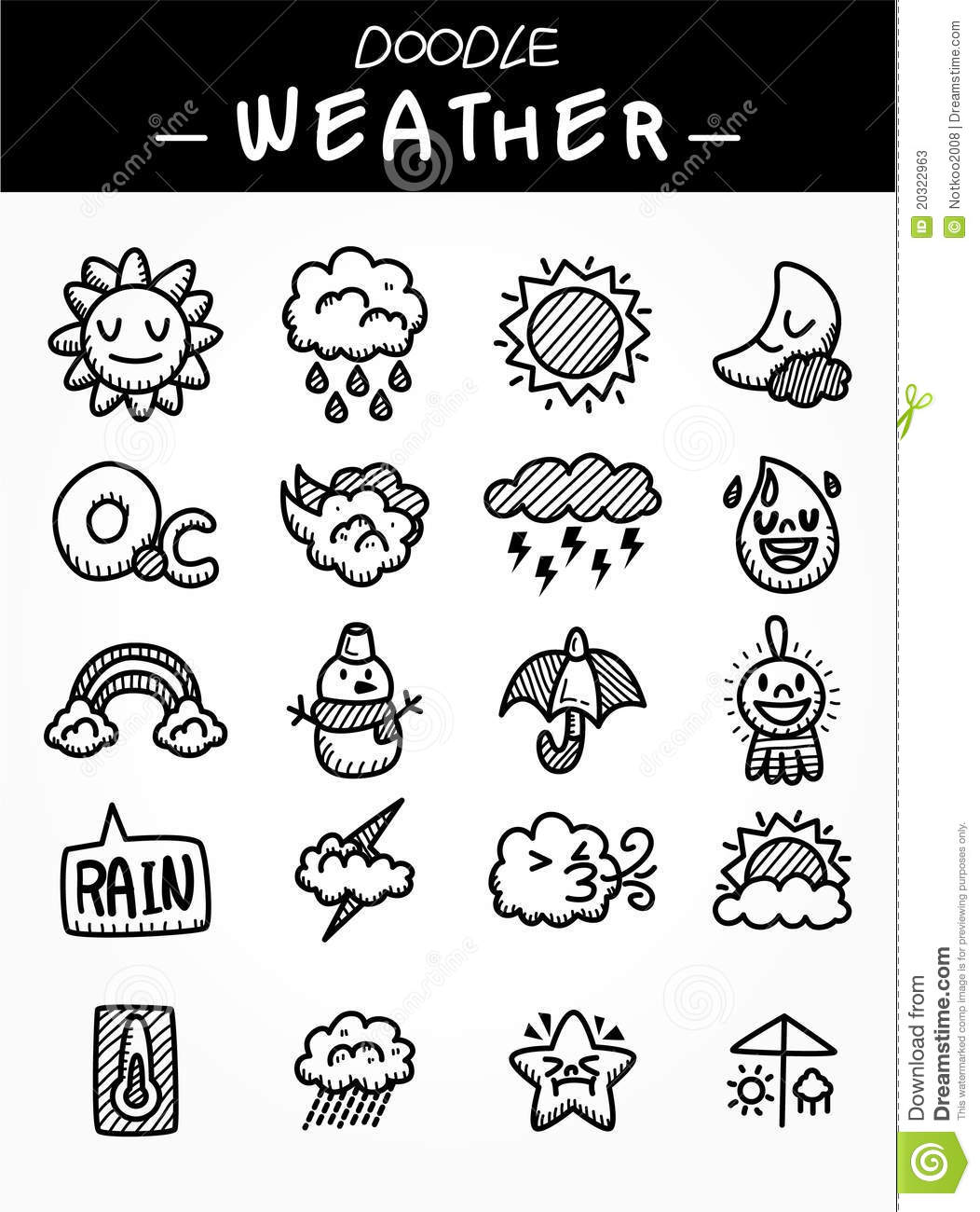 Hand draw cartoon weather icons set stock vector for Make doodle online