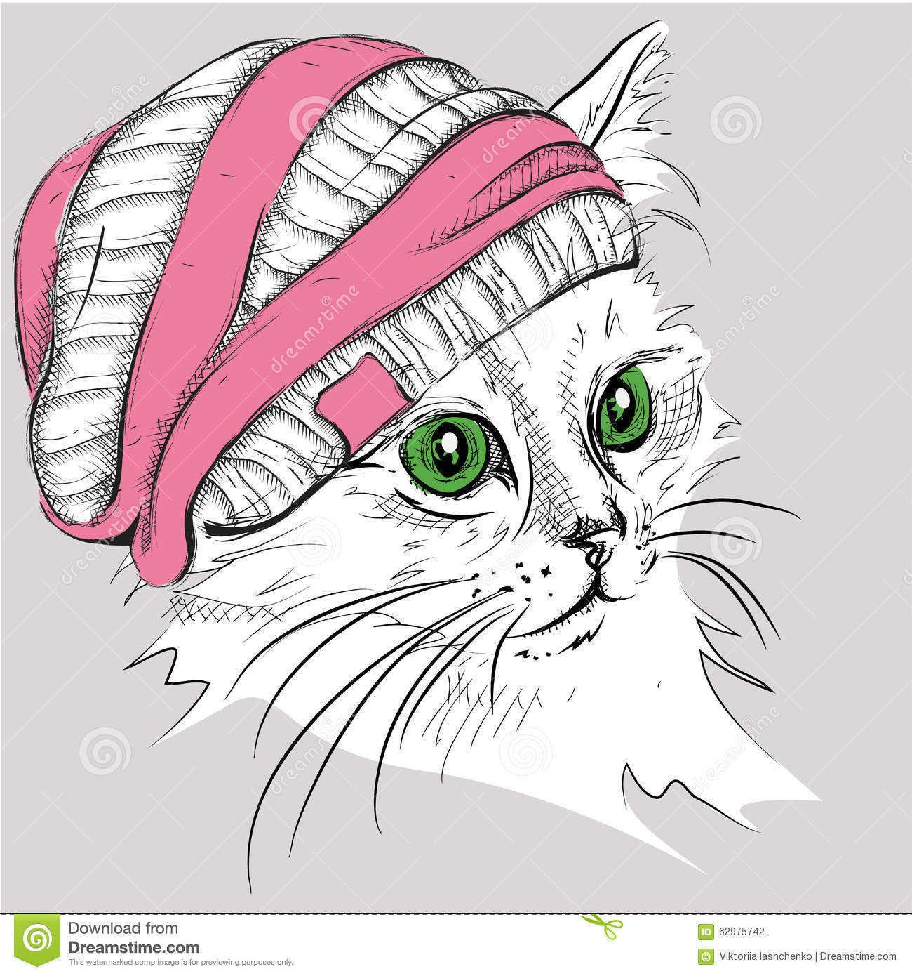 Hand Draw Cat In A Hat Vector Illustration Stock Vector