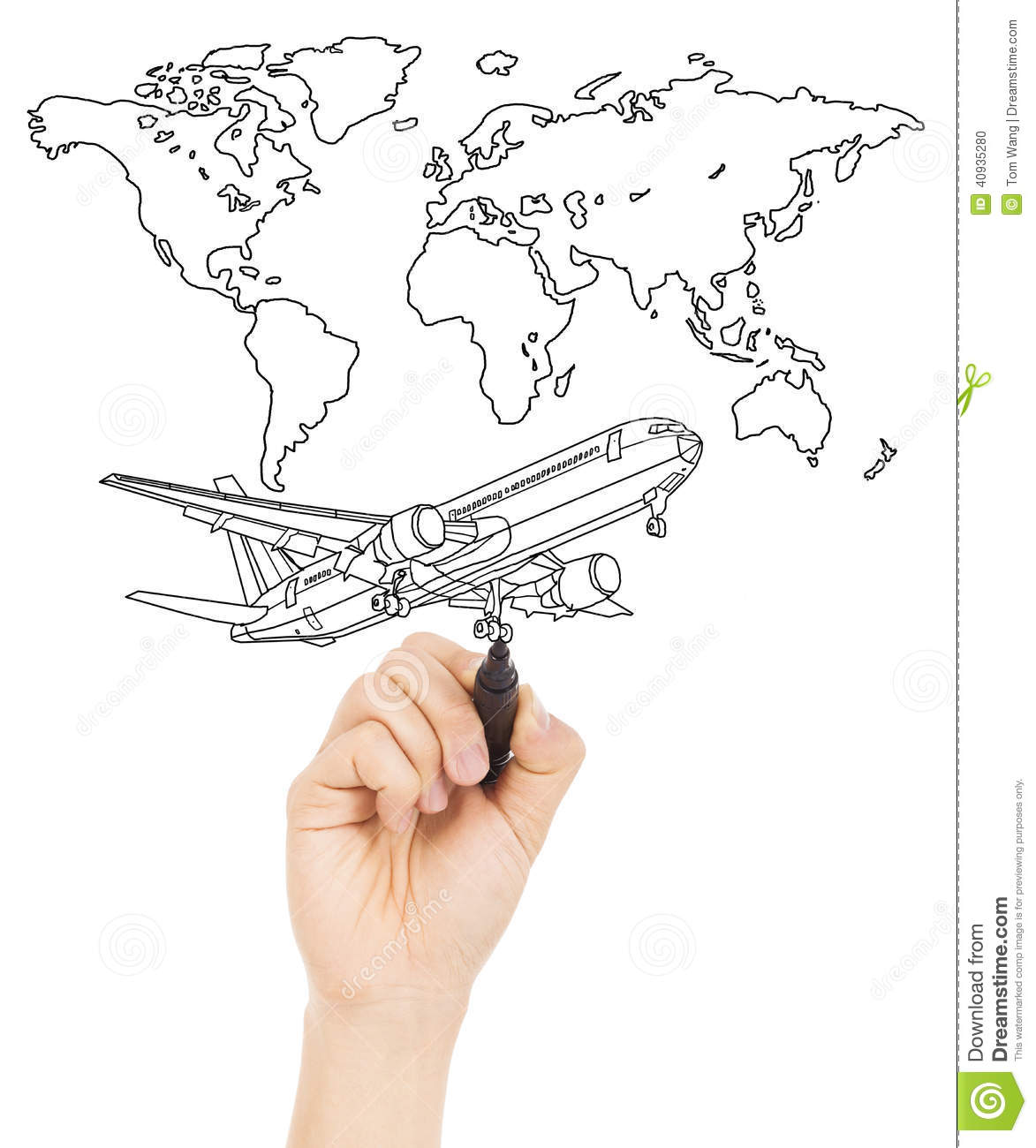 Hand draw a concept picture about world map and a airplane stock hand draw a concept picture about world map and a airplane gumiabroncs Image collections