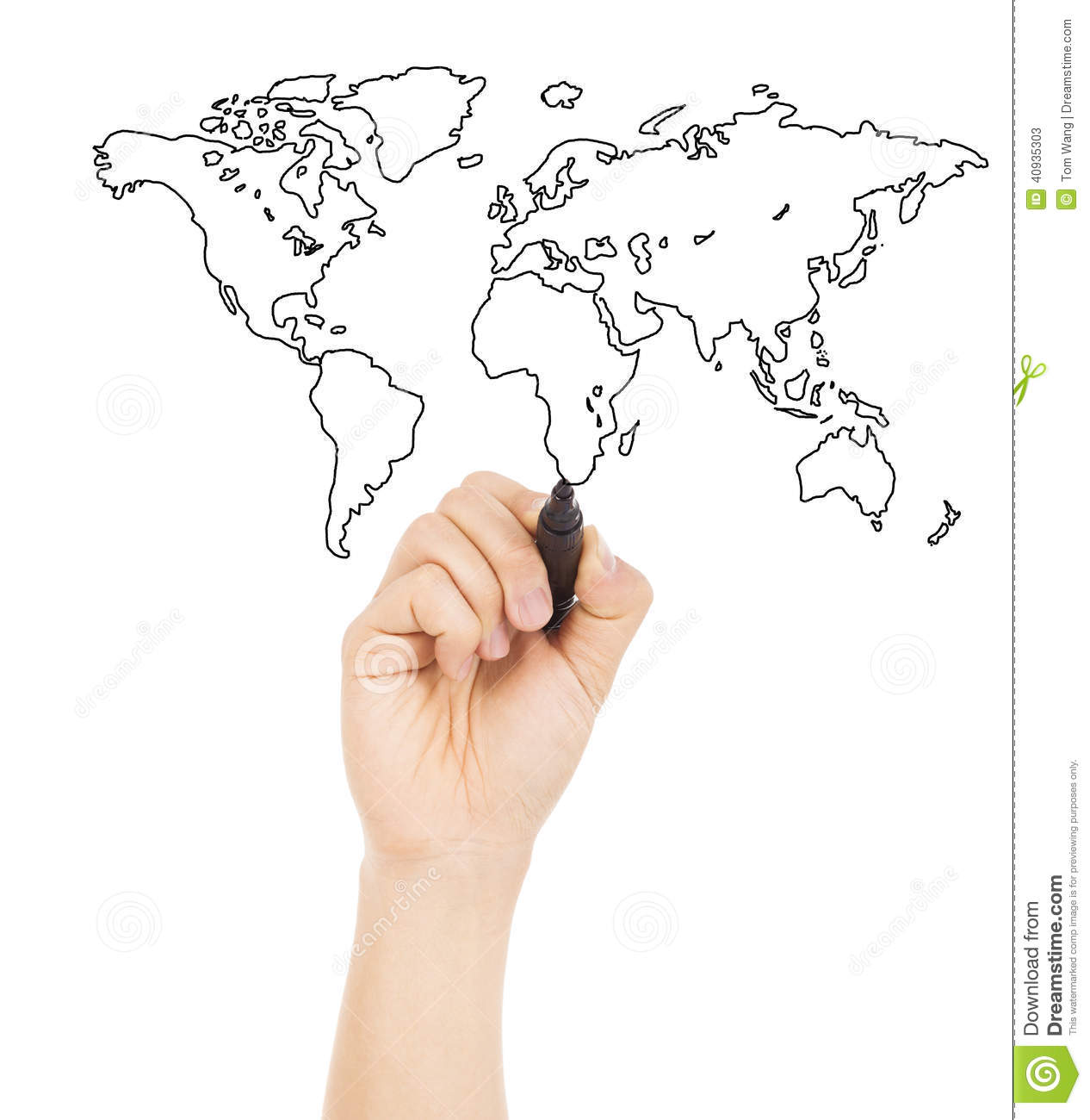 Hand Draw A Concept Picture About World Map Stock Image Image Of