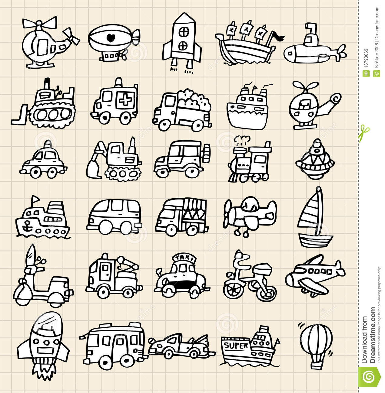 Hand Draw Cute Car Element Stock Photos - Image: 16793863