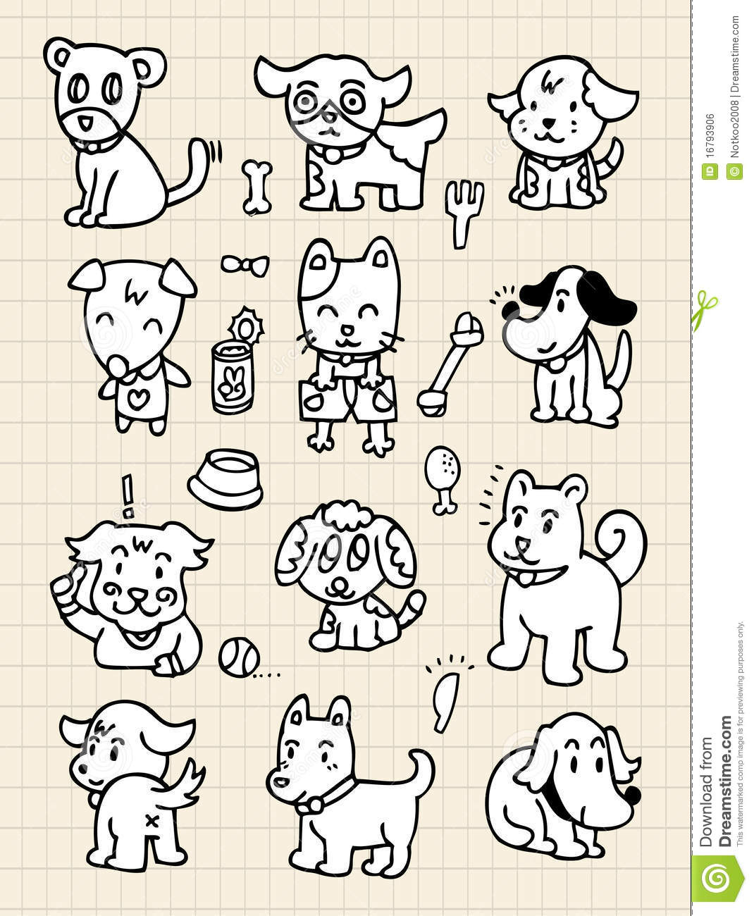 Hand Draw Cute Dog Element Stock Vector Illustration Of Draw 16793906