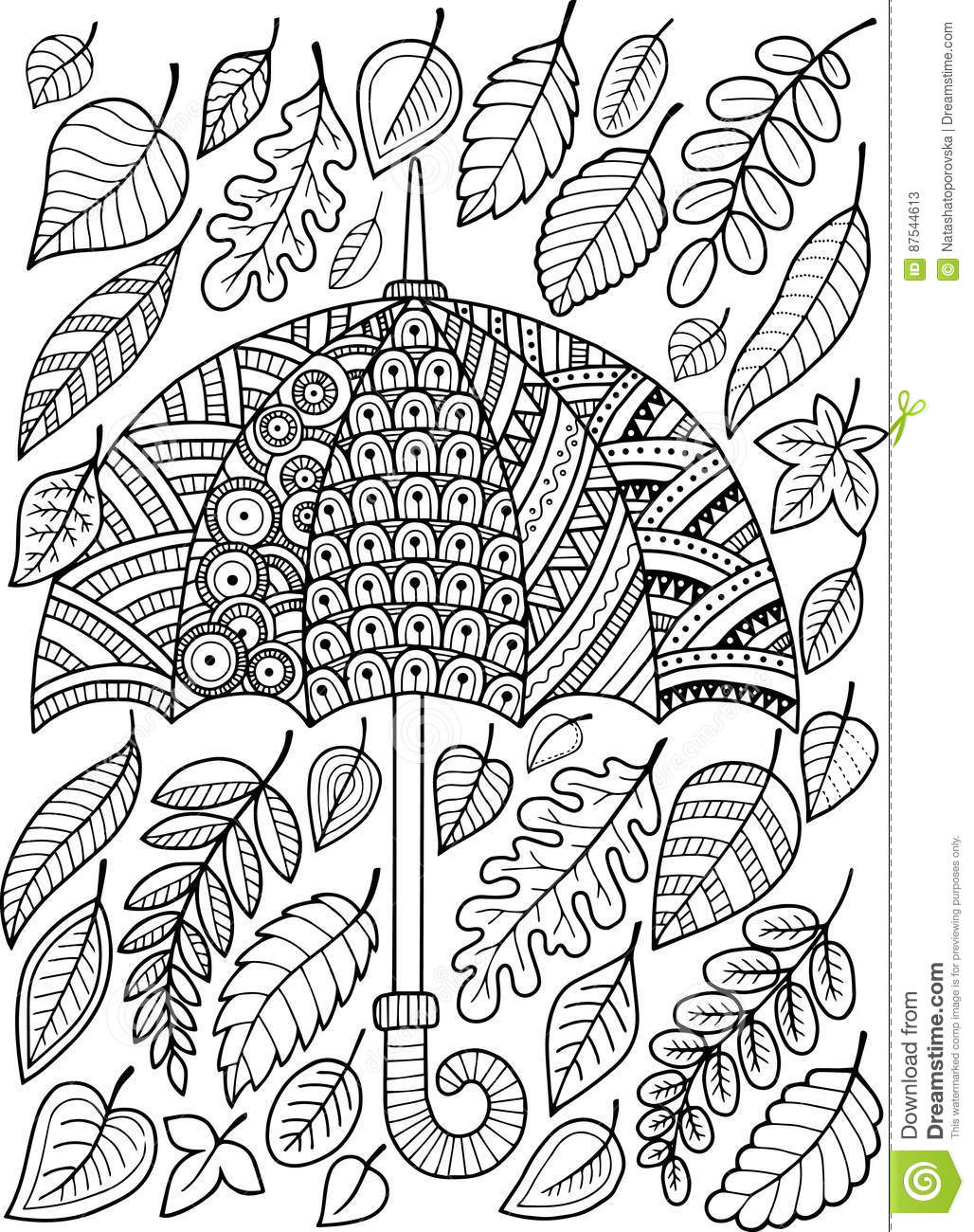 Hand Draw Doodle Coloring Page For Adult. I Love Autumn ...