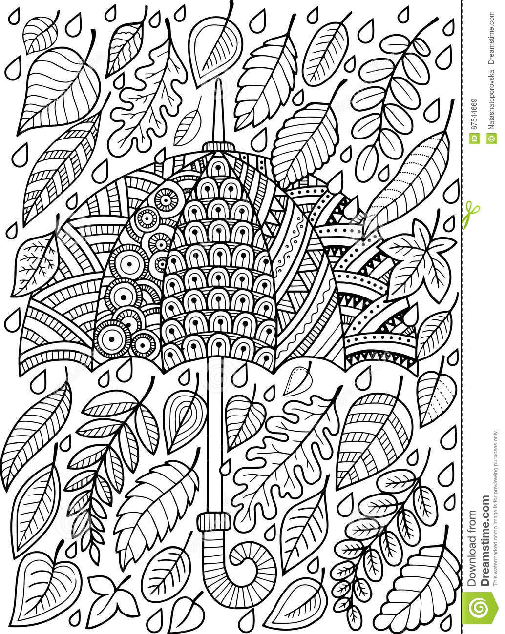Free coloring pages rain - Hand Draw Doodle Coloring Page For Adult I Love Autumn Rain Fashion Umbrella Style