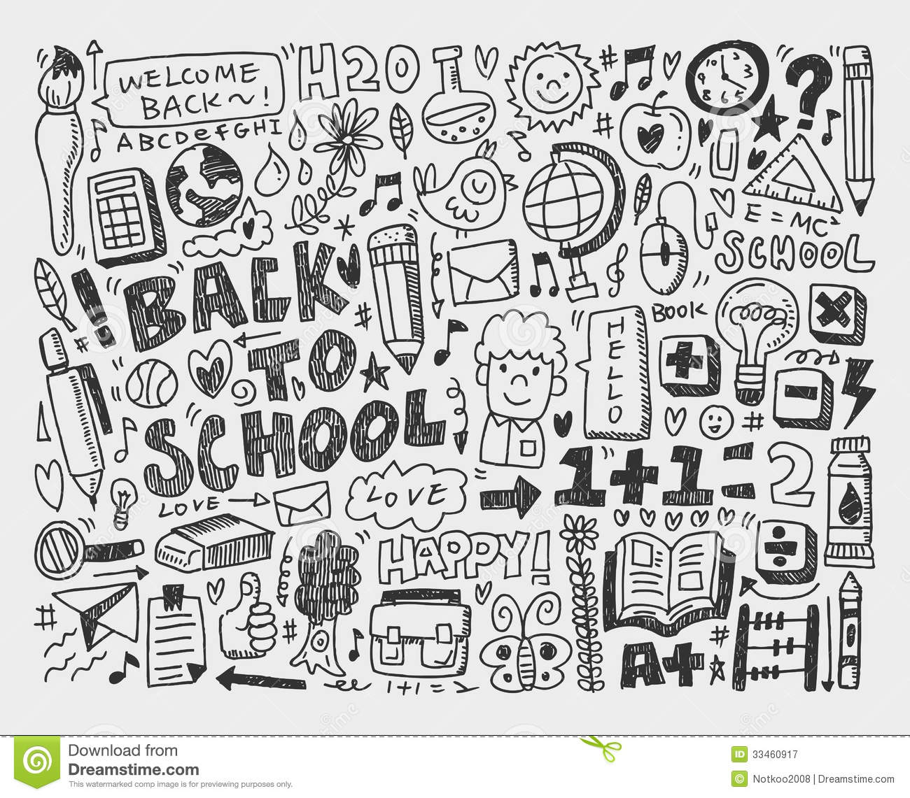 Hand Draw Doodle School Element Royalty Free Stock