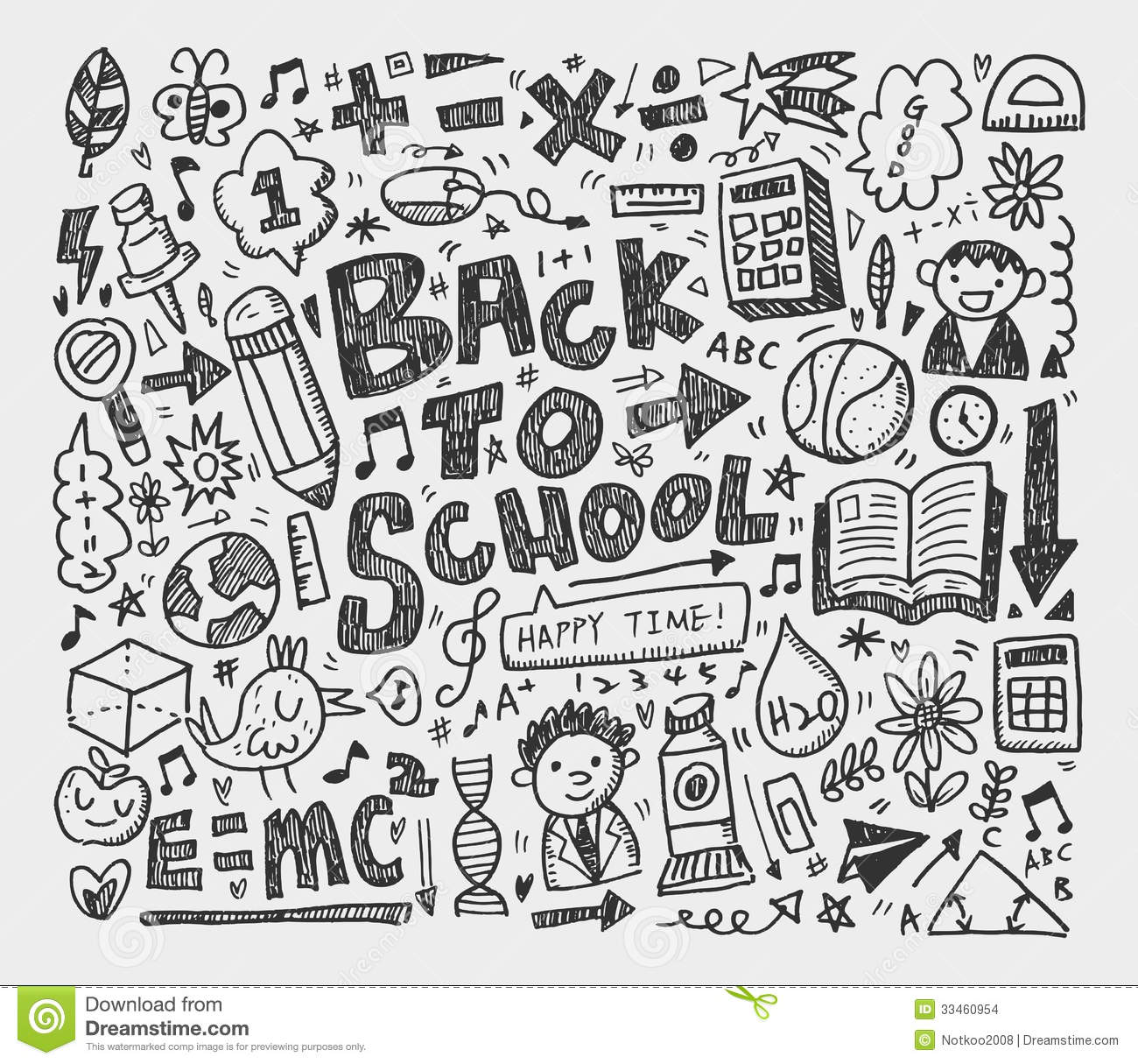 Hand Draw Doodle School Element Stock Images Image 33460954