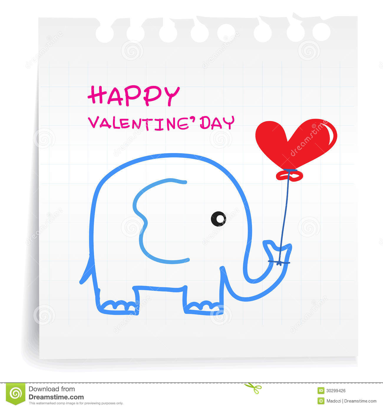 Elephant Valentine On Paper Note