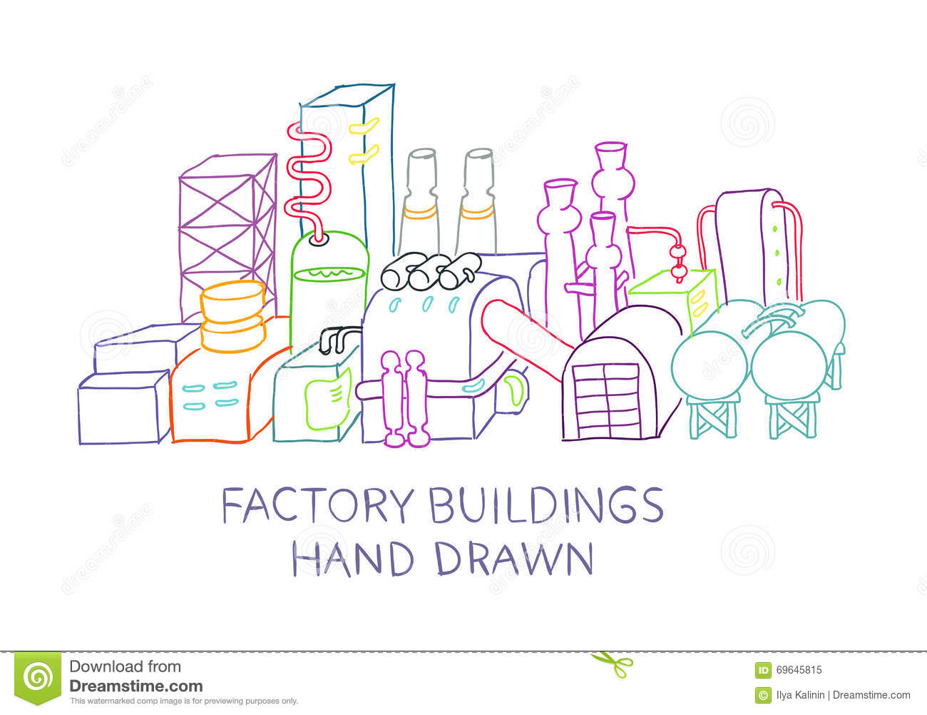 Hand Draw Of Factory Buildings Stock Illustration Illustration Of