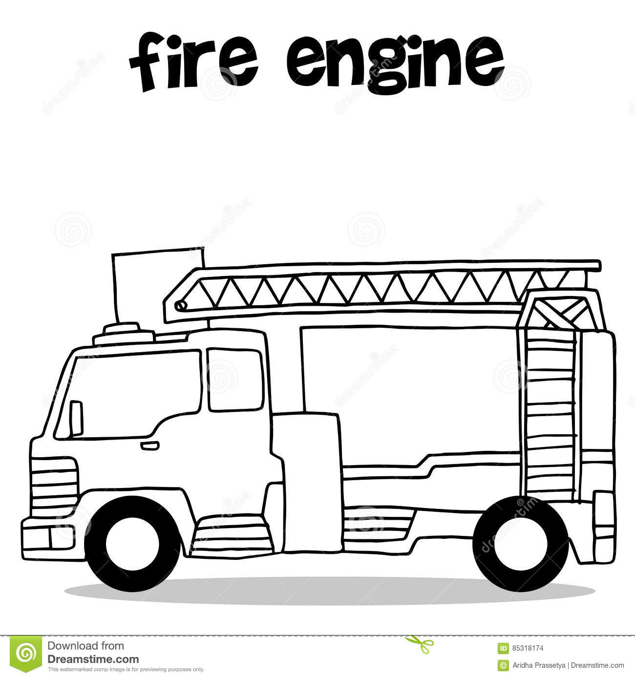 Hand draw of fire engine stock vector  Illustration of