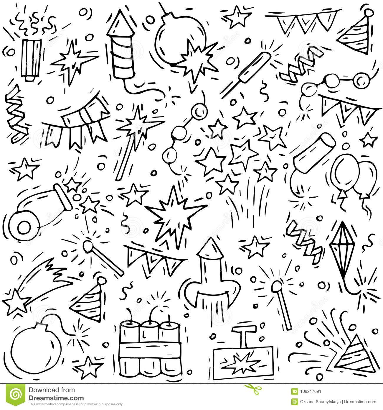 Hand draw firework icon set with petard stars and