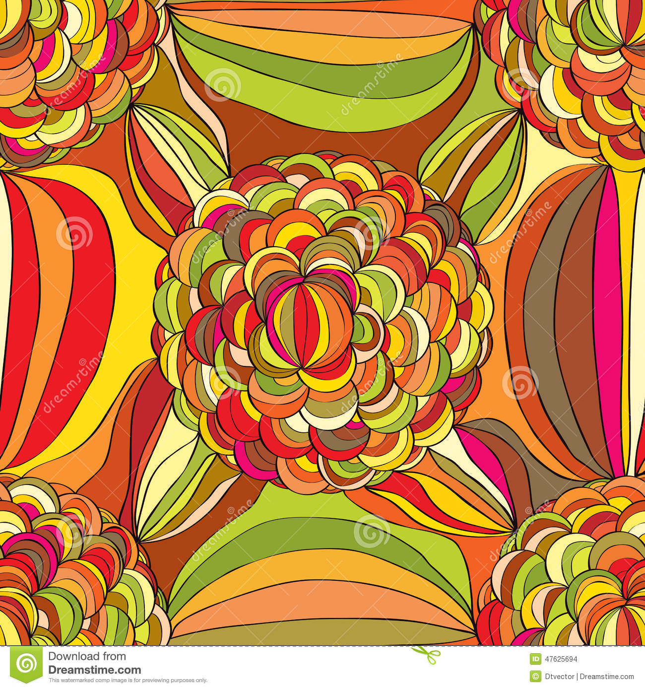 Hand Draw Flower Circle Line Seamless Pattern Stock Vector