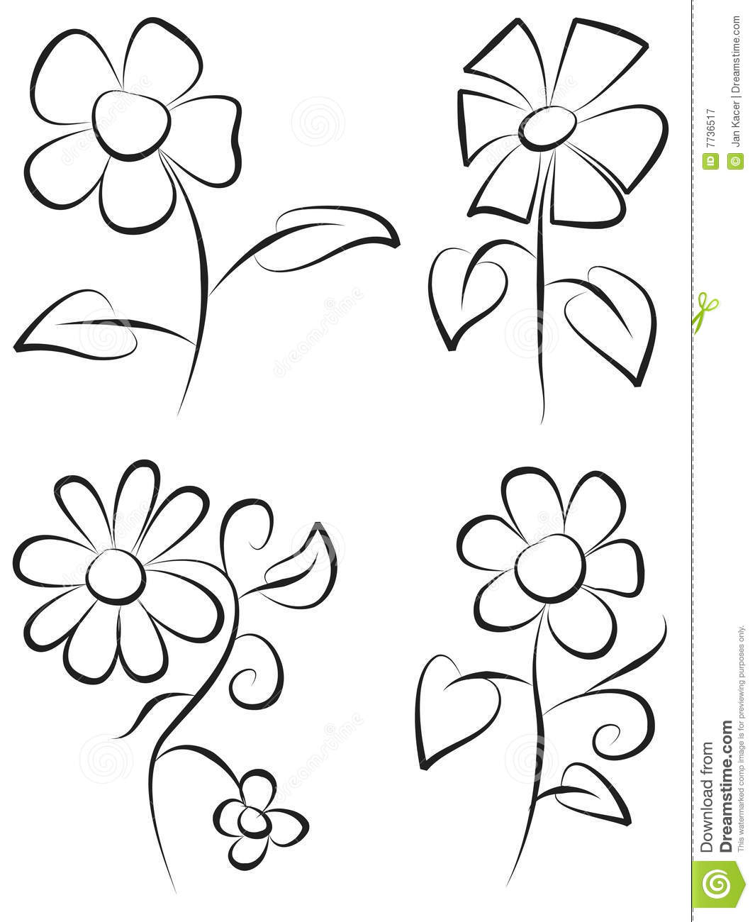Hand Draw Flowers Stock Vector Illustration Of Form Draw 7736517