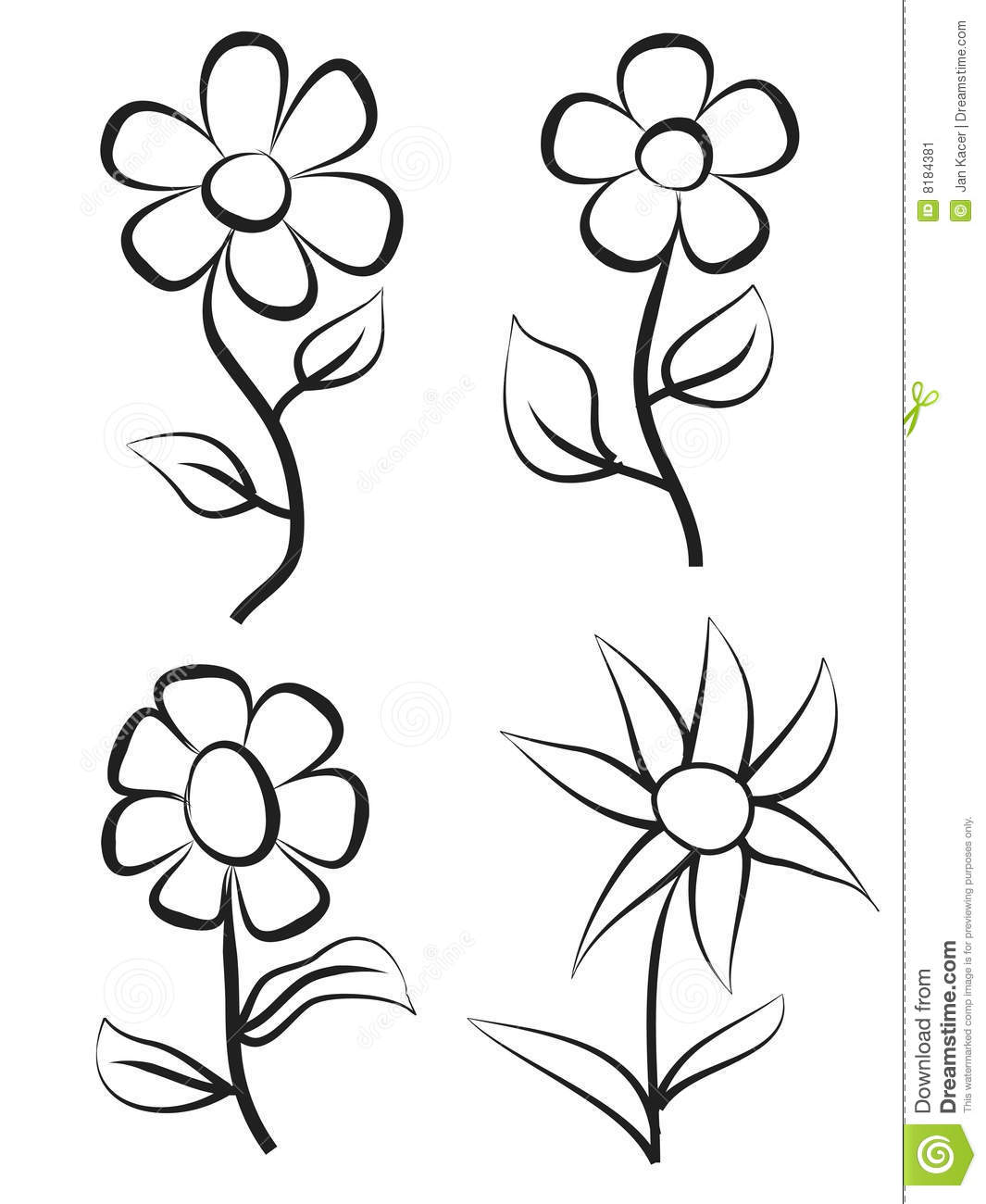 Hand Draw Flowers Stock Illustration Illustration Of Form 8184381