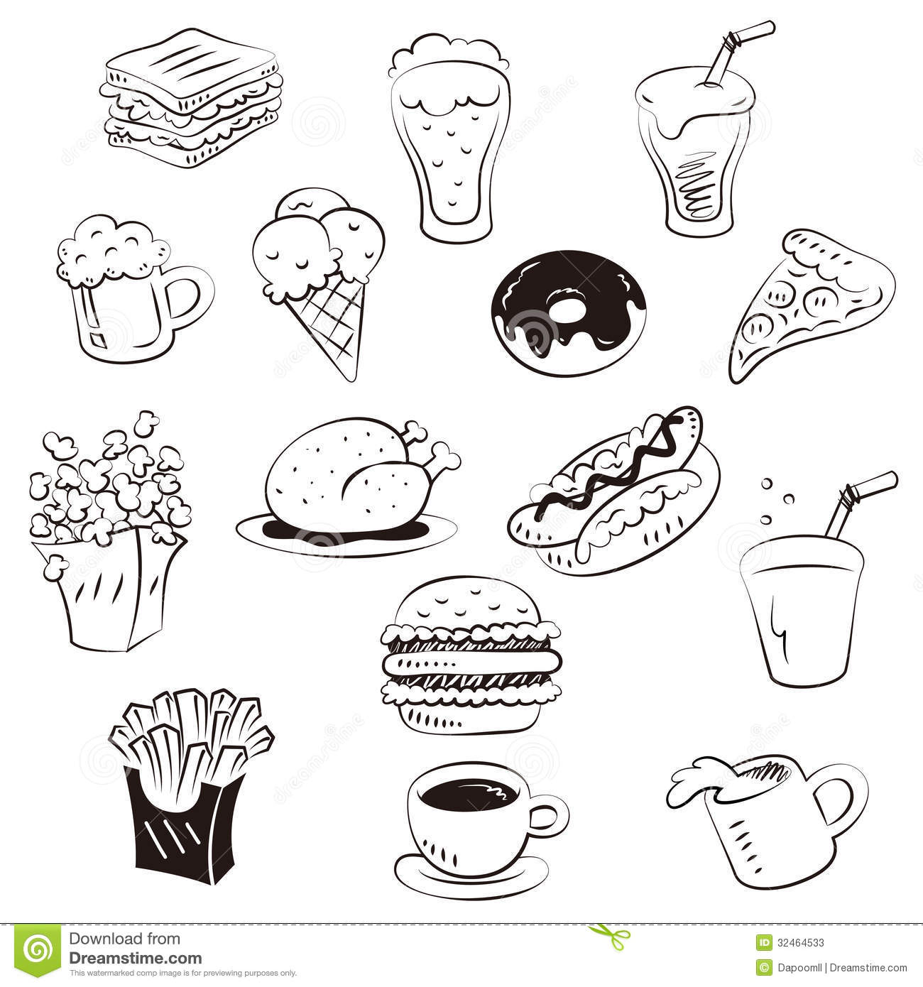 Hand Draw Foods In Doodle Style Stock Photos Image 32464533