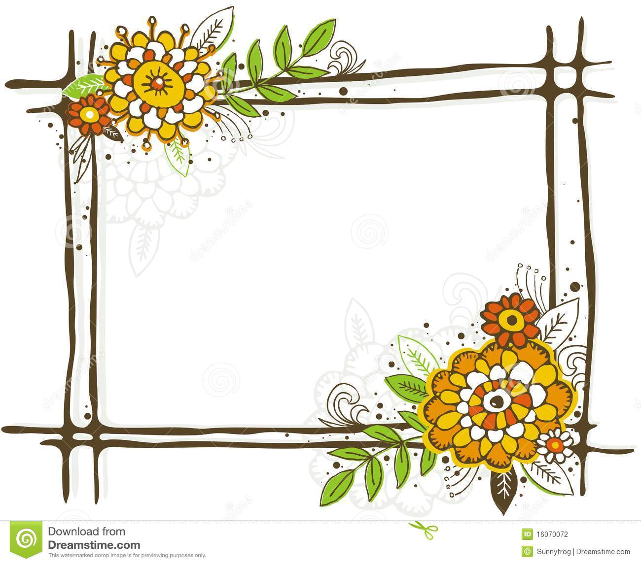 Hand Draw Frame With Flowers Stock Vector - Illustration of flower ...