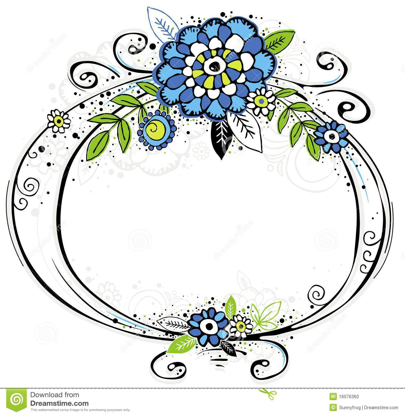 Hand Draw Frame With Flowers Stock Vector Illustration Of Border