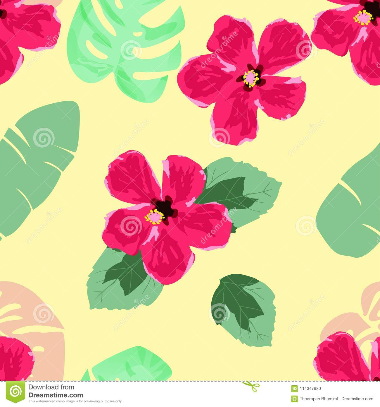 Hand Draw Hibiscus Flower And Tropical Leaves Seamless Pattern Stock