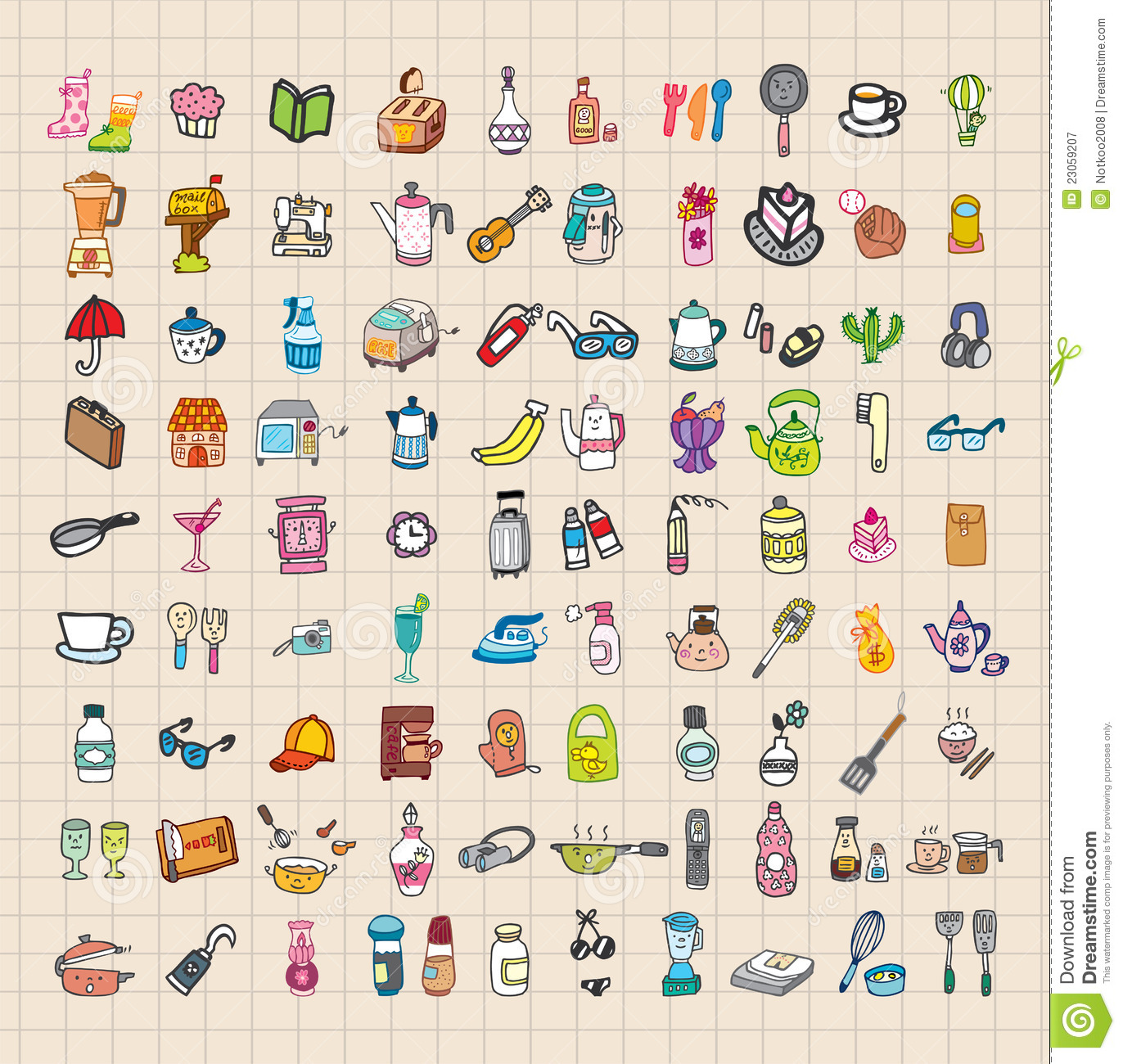 Hand Draw Home Stuff Set Royalty Free Stock Photography