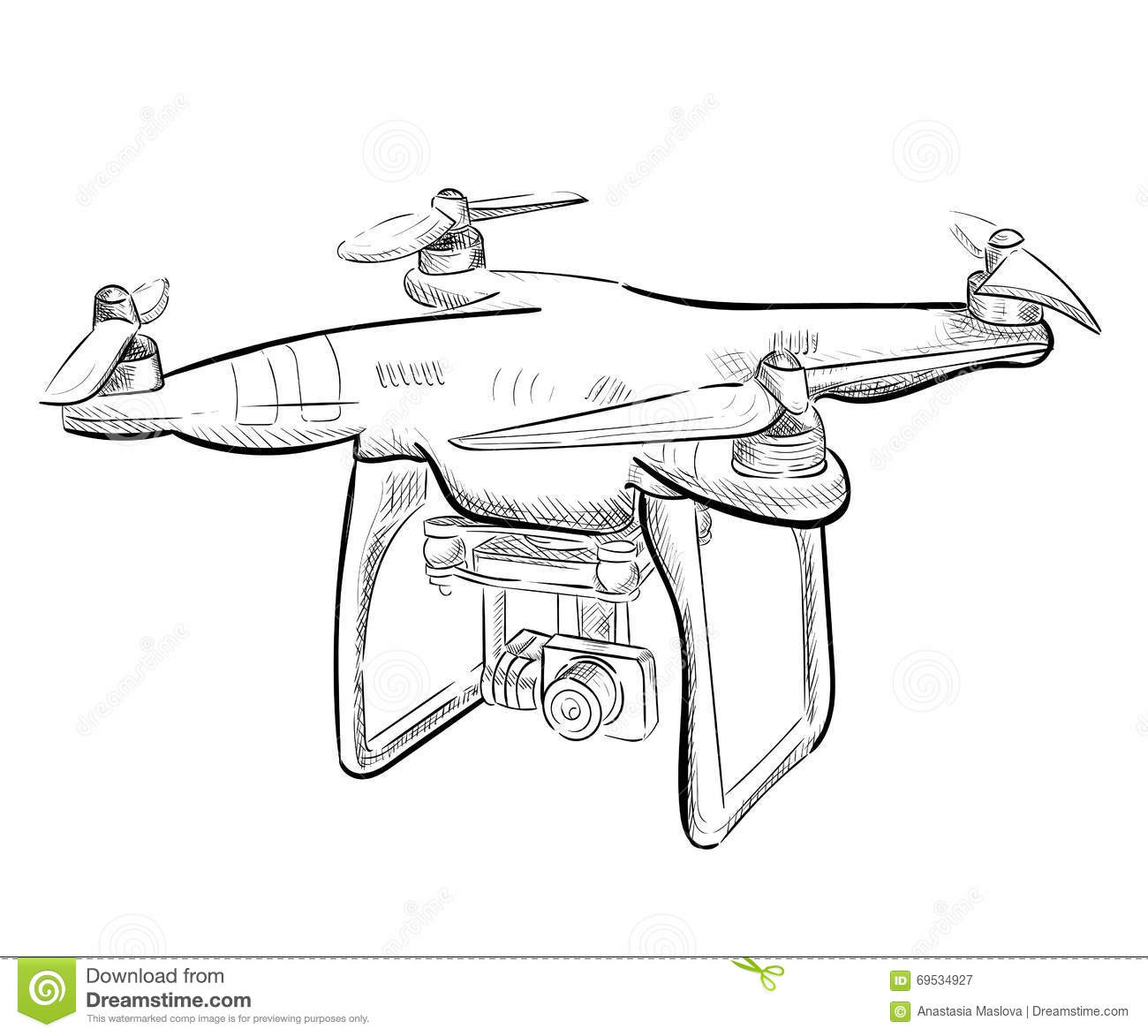 Hand Draw Illustration Aerial Vehicle Quadrocopter Air Drone Hovering Sketch
