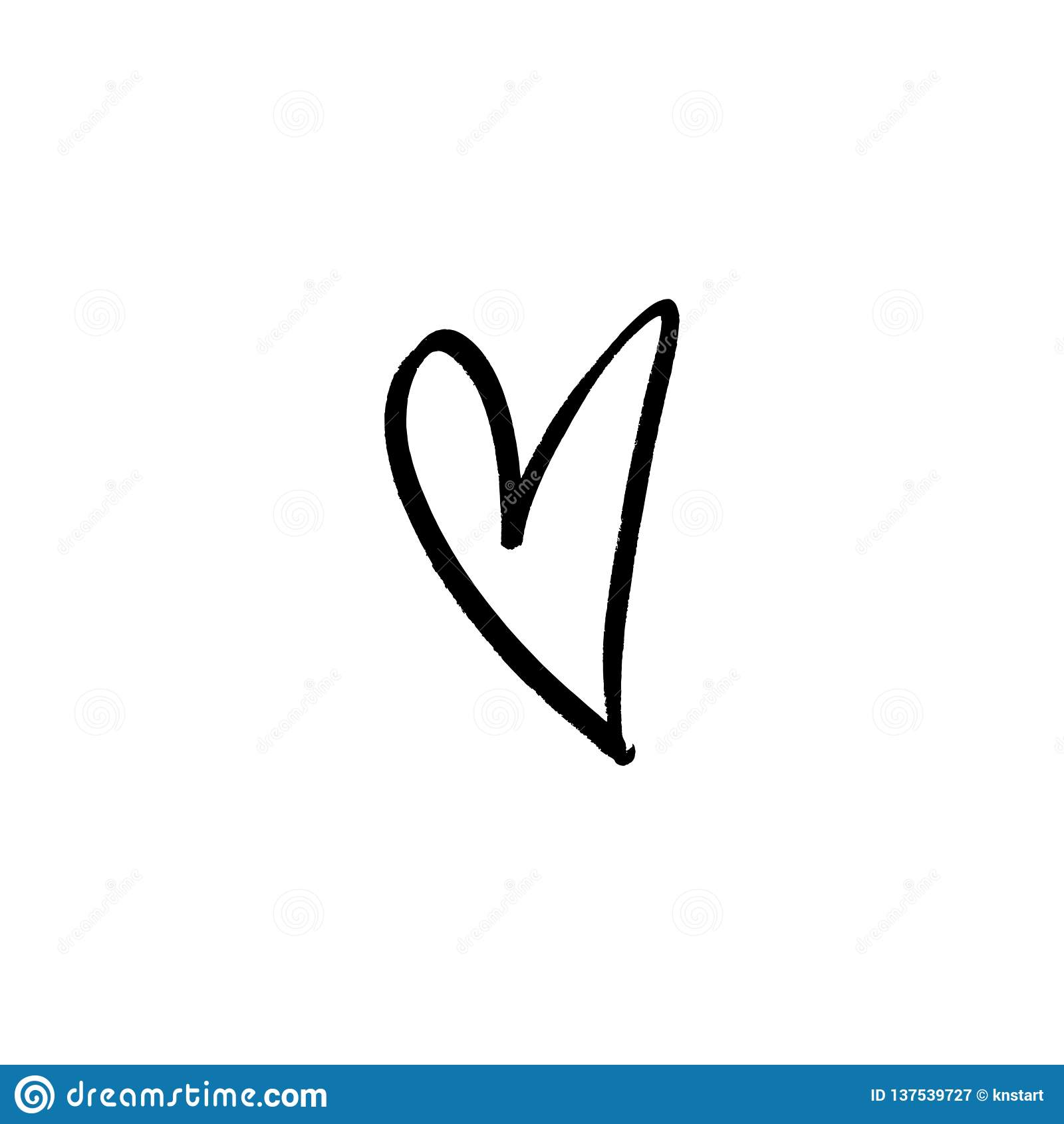 Hand Draw Ink Simple Heart Illustration Love Symbol Decor Element