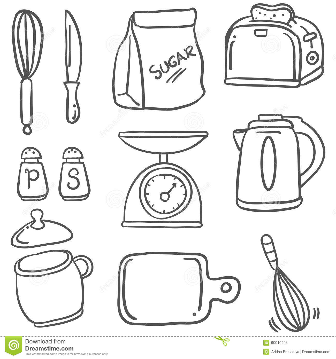 Hand Draw Kitchen Set Doodles Stock Vector Illustration Of Rice