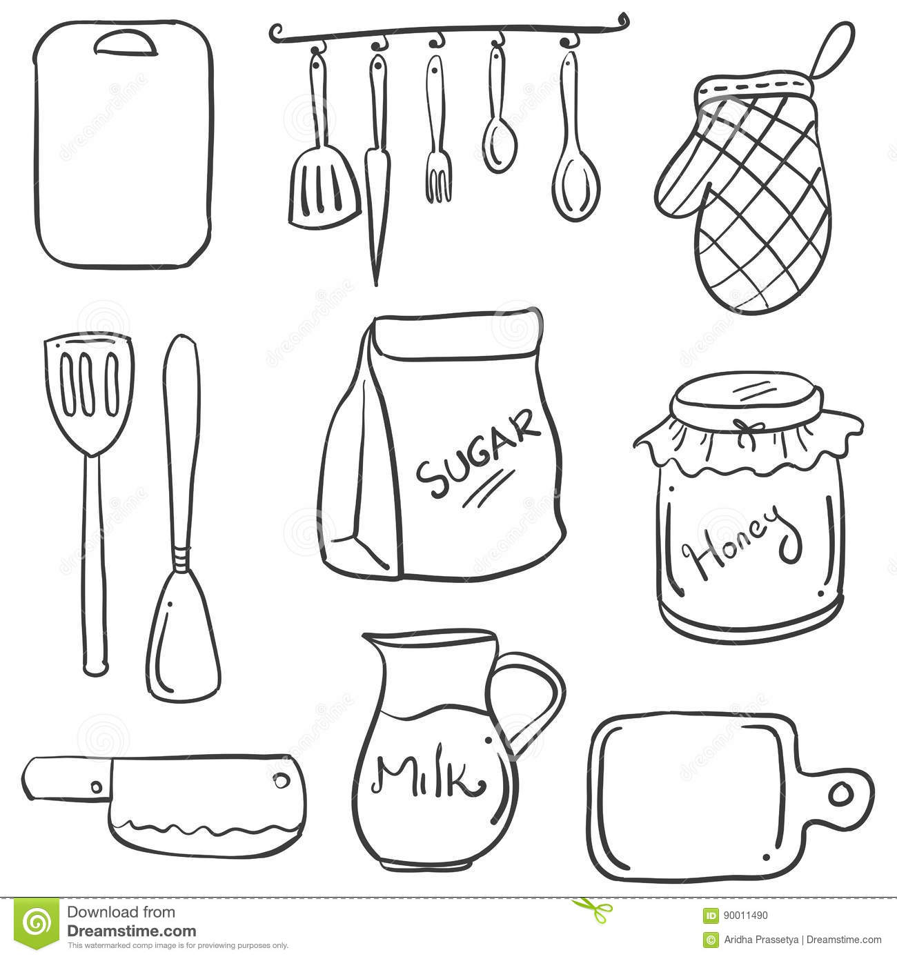 Hand Draw Of Kitchen Set Doodles Stock Vector