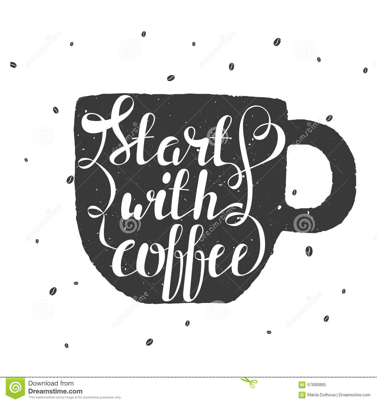 Hand draw lettering illustration with coffee beans and for How to draw a coffee bean