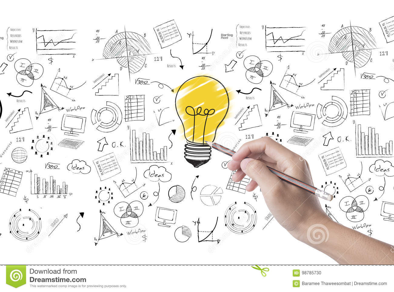 Hand Draw Lightbulb On Wall Background Concept For New Ideas Stock