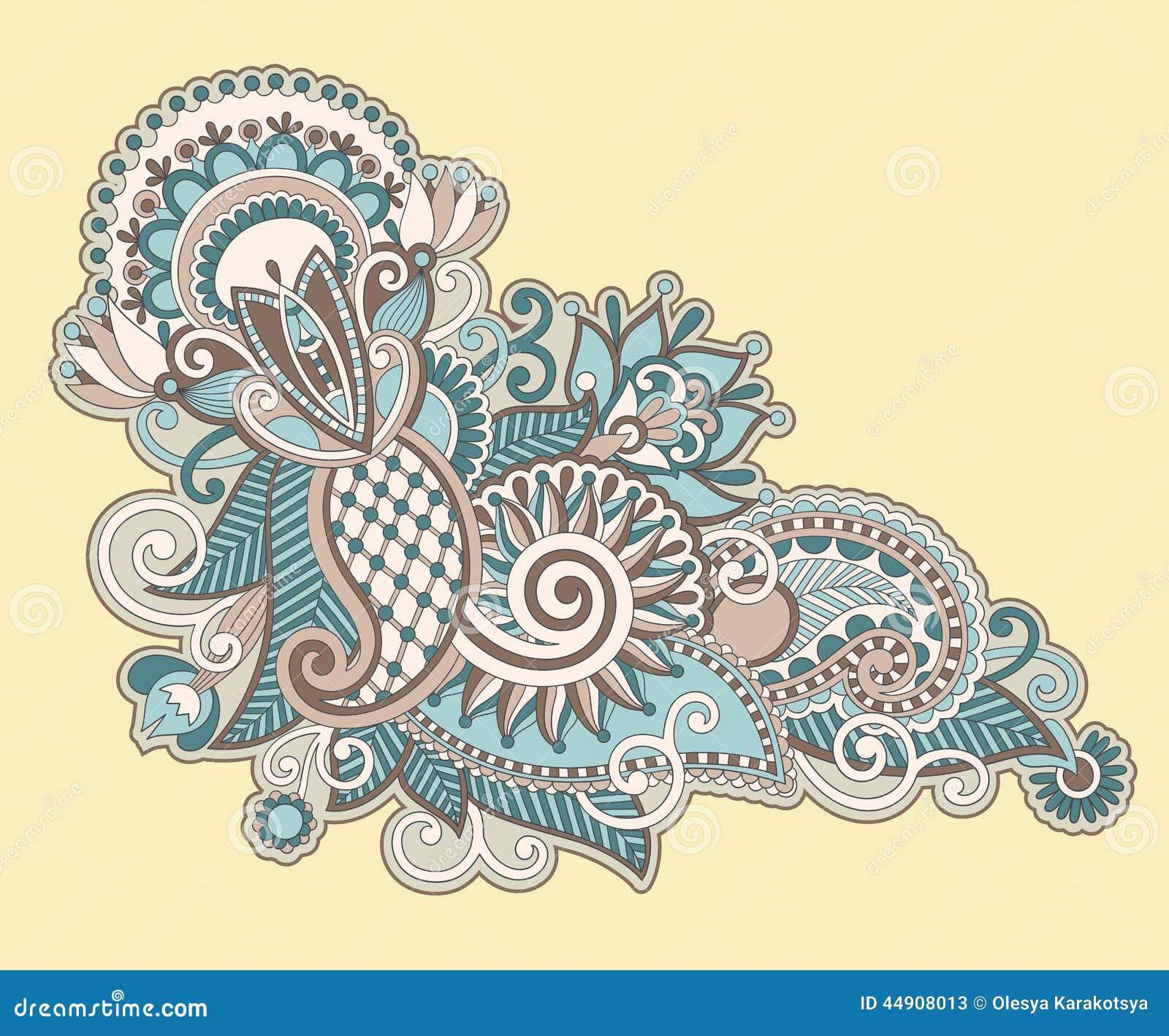 Line Art Ornate Flower Design : Hand draw line art ornate flower design stock vector
