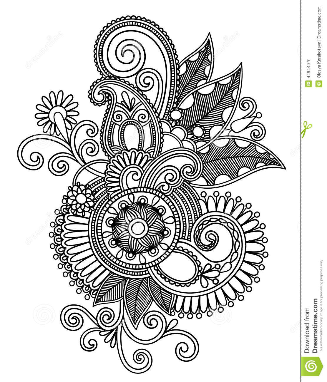 Traditional Flower Line Drawing : Hand draw line art ornate flower design stock vector