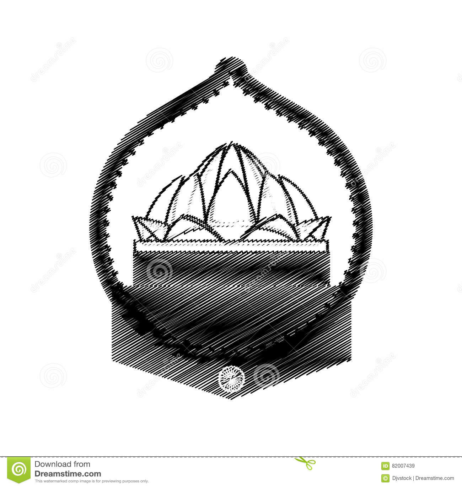 Hand Draw Lotus Flower Ornament Design Stock Vector Illustration