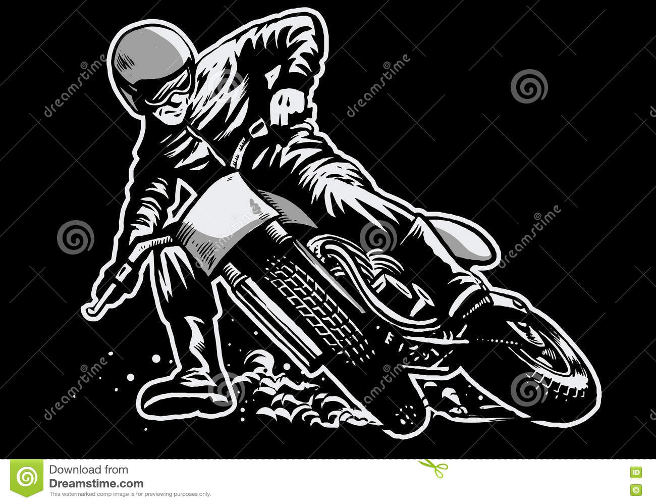 Hand Draw Of Man Riding A Flat Track Motorcycle Race Stock Vector
